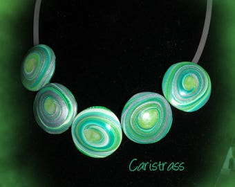 Green polymer clay lentil spiral necklace