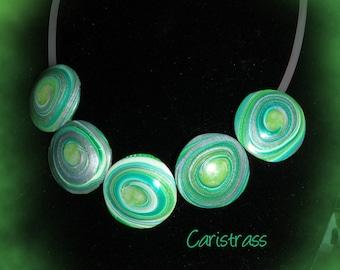 Green polymer clay lentil spiral necklace