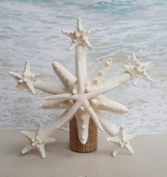 Hawaiian Christmas Tree Topper: Deluxe Starfish Tree Topper Natural Gold Or Silver Glitter