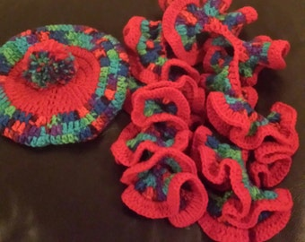 Crochet Tam and Ruffle Scarf