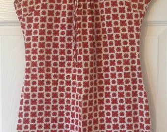 Vintage Red Pattern Mini Dress