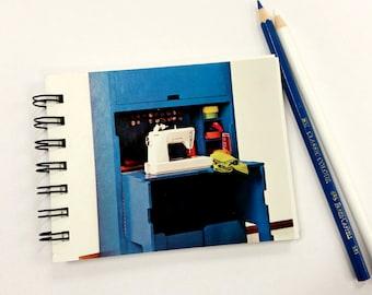 Retro Sewing Machine, Upcycled Mini Notebook