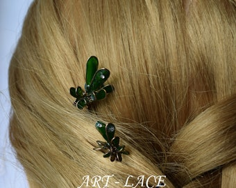 Bronze hair accessories for women olive green hair accessories for bun leaves hair pick decorative greenery green wedding Bridal Christmas