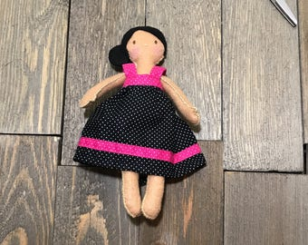 Sweet Dark Haired Felt Doll **Ready to Ship** -Handsewn Doll - Felt Baby Doll - Fabric Doll - Stuffed Toy - Felt Doll