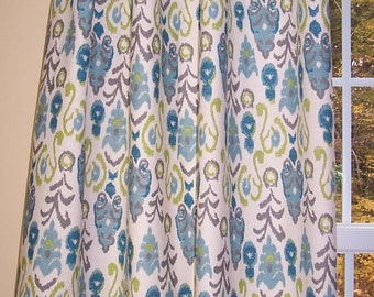 Frost Blue And Green Curtain Panels Ikat Curtains Teal