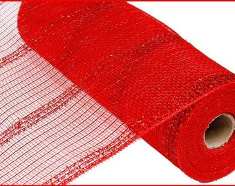 """10.5""""X10yd Red Wide Tinsel/Pp/Foil Deco Mesh/Wreath Supplies/RY840124"""