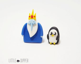 Ice King and Penguin Collar Brooch - Adventure Time polymer clay jewelry