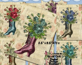 Printable Vintage Victorian Boots  Floral ATC Collage Clip Art  Instant Download  Downloadable  CU  Commercial, Personal Use ok