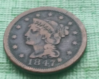 1847 Braided Hair large cent.   #M1077 US coin