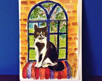 Cat Gift, Card to Frame, Black and White Cat Card, Tuxedo Cat Gift, Hand Painted, Cat Paintng, Cat Mom, Original Watercolor, Cat Window Art