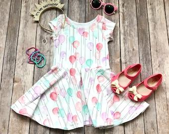 Balloon Dress. Birthday Dress. Pink Balloon Dress. Baby Dress. Toddler Dress. Baby Birthday Dress. Twirl Dress. Twirly Dress. Spin Dress.