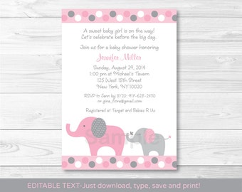 Pink Elephant Baby Shower Invitation / Polka Dot Elephant / INSTANT DOWNLOAD Editable PDF A334