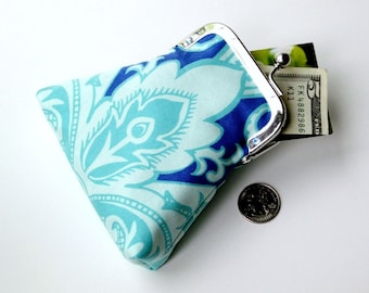 aqua periwinkle and turquoise credit card purse...internal key ring...cash coin purse...Swarovski crystal frame detail...last one!