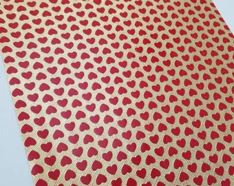 Faux Leather GOLD w/ RED HEARTS sheet,8x11 faux leather,gold vegan leather, red faux leather,fake leather,faux leather fabric vinyl