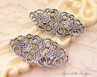 Ornate Antique Silver Ox Art Nouveau Floral Filigree Connectors Bracelet Link Findings Stampings Long Oval - 4