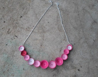 Ombre pink bubble necklace Minimalist jewelry Bib necklace Contemporary Fashion Paper art Valentine's gift Romantic Love Bohemian
