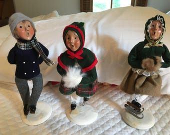 """Three Byers Choice Skaters, 11"""" Colonial Figurines --Signed"""