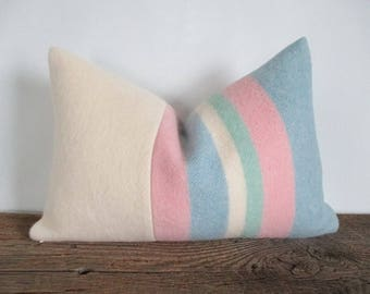 Ivory Wool Blanket Pillow Cover Pastel Pink Blue Jadeite Green Stripes Zipper 12 x 18 Lumbar