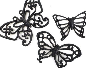 home decor. wall art. vintage. gift for her. for women. housewarming gift. wall decor. wall hanging. gift. black butterfly moths butterflies