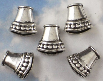 6 Necklace Cones Antique Tibetan Silver Tone Hill Tribes Style Flattened End Cap Beads (P485)