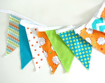 Bunting for baby, Fabric banner with Flags for Nursery Decor Birthday Party - lambs sheep on Orange, Lime, Aqua