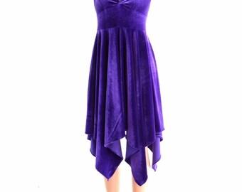 Handkerchief Hemline Halter Dress in Puprle Stretch Velvet  152385