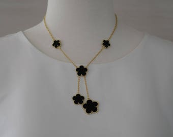 SALE - Black Onyx Necklace, Gold and Onyx Enamel Flower Necklace, Flower Necklace, Gift for her, Short necklace, Valentines gift