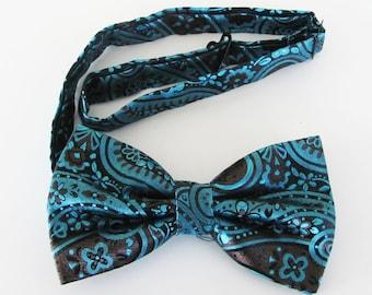Mens Bowtie Electric Blue Pattern On Black  Pre Tied Bow Tie