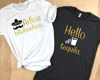 Adios Bitchachos, Hello Tequila, Bachelorette Party Shirts, Tacos and Tequila Shirt, Cinco de Mayo shirt, Fiesta Tank Tops, Fiesta Shirt