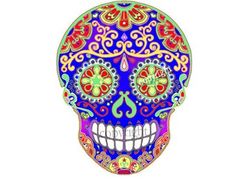 DIY Day of the Dead Sugar Skull Instant Digital Download - Iron On, Decoupage, Craft Supply - Print at Home, JPG File
