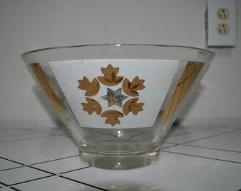 Atomic Mid Century Barware Large Glass Bowl Ice Bucket Salad Bowl Gold Starburst