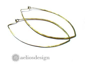 Golden Hoop Earrings Large Tear Drop Shaped Bronze Hoops