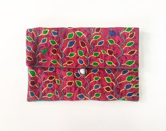 Handmade embroidered purse - floral Malagasy design