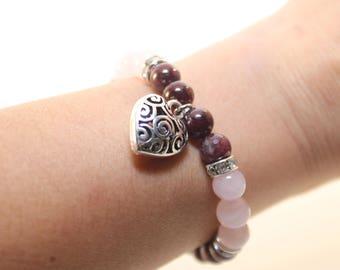 Bracelet Beaded Garnet, Rose Quartz, & Heart Pendant Great Reike/Wiccan Stone Beads Elastic Cord -FREE SHIPPING-