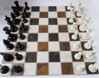 """Black/Brown Off- White Porcelain Stone Chess/Checker Board 15 3/4"""" x 15 3/4"""" with/without Chess/Checker Pieces"""