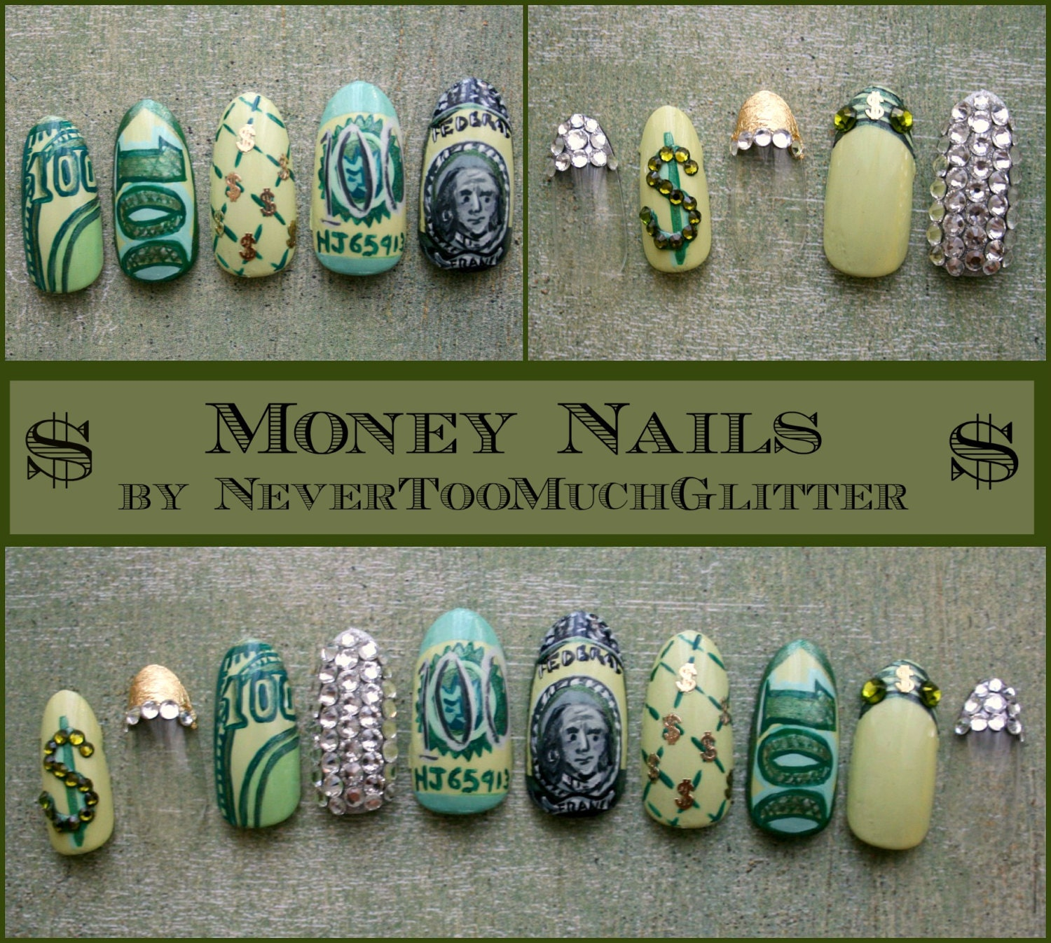 Handpainted money press on nails with swarovski crystals zoom prinsesfo Images
