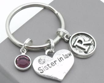 Sister in law vintage style initial keyring | sister in law keychain | personalised sister in law keyring | sister in law gift | letter