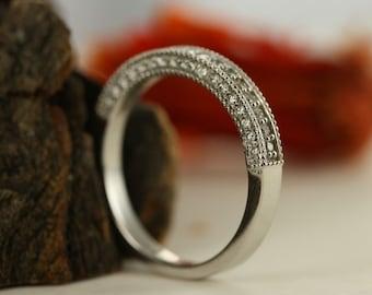 Vintage Inspired Diamond Wedding Ring Band In 14K White Gold Milgrain Diamond Ring Diamond Anniversary Ring Ready To Ship Size 7