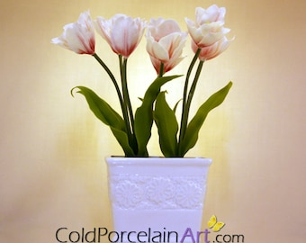 White and Red Tulips Centerpiece - Cold Porcelain Art - Made to Order