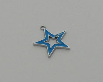 2 pendants Star Blue enameled coach - Ref: PE 716