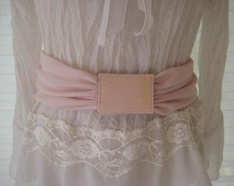 Pink sash belt, wide waist belt, 70s pink chiffon fabric belt, small to medium
