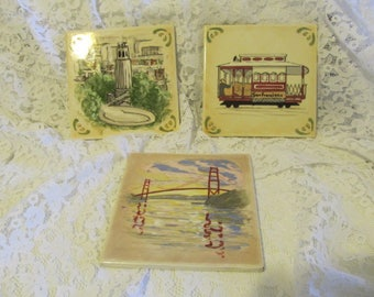 Three (3) Vintage Hand Painted San Francisco Tiles