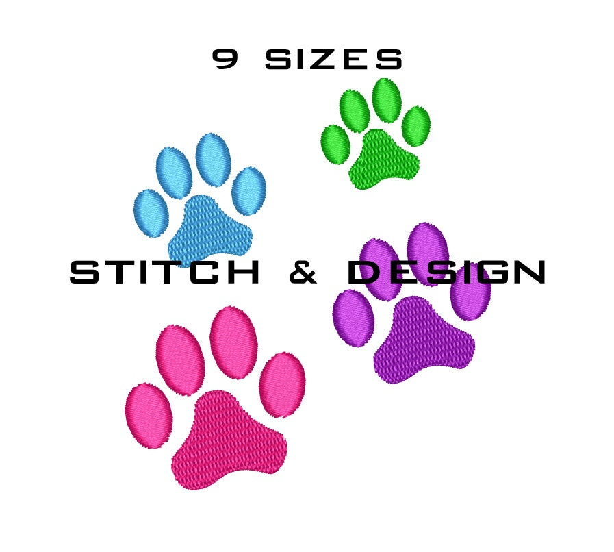 Paw Embroidery Design Machine Embroidery Paw Print Download