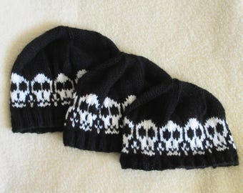 Hand Knit Hat with Skull Pattern