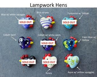 4 cheery chicken beads - lampwork glass hens - you choose the colors - jewelry and craft supplies