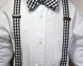 Suspenders Boys Bowtie Set Black and White Gingham ANY COLOR or PRINT
