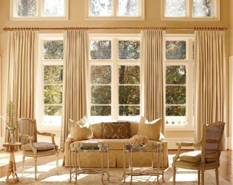 Pleated Linen drapes,French pleats, lined pleated drapes, white, off white, oatmeal, all colors available