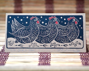 Three French Hens - Pack of 2 hand-made linocut Cards - 12 Days of Christmas Cards | Chickens | Hens | Maran Hen | eco-friendly | wall art