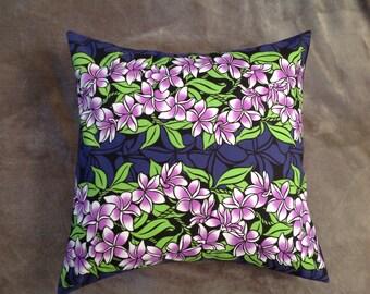Plumeria print throw pillow cover