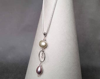Drop pink pearl Necklace, Pendant, Gift for Women